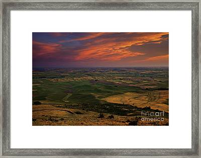 Red Sky Over The Palouse Framed Print by Mike  Dawson
