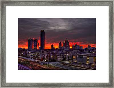 Red Sky Sunrise Midtown Atlanta Framed Print by Reid Callaway