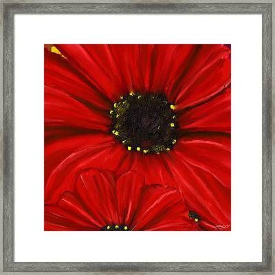 Red Spectacular- Red Gerbera Daisy Painting Framed Print by Lourry Legarde
