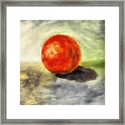 Red Sphere With Grey Framed Print by Michelle Calkins