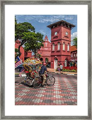 Red Square Malacca Framed Print by Adrian Evans