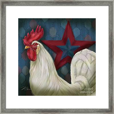 Red Star Rooster Framed Print by Shari Warren