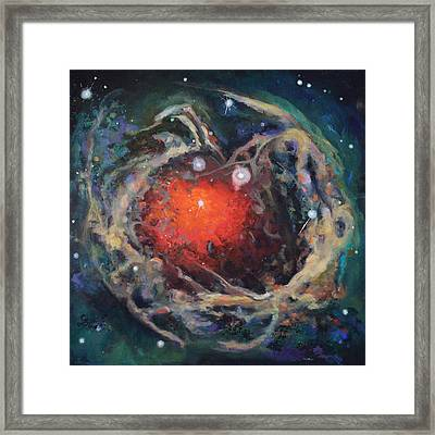 Red Star Framed Print by Toni Wolf