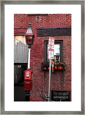 Red Street In Boston Framed Print by John Rizzuto