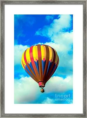 Red Striped Hot Air Balloon Framed Print by Robert Bales