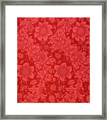 Red Sunflower Wallpaper Design, 1879 Framed Print by William Morris