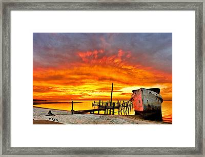 Red Sunset - Beached Ship At Sunset Framed Print by Eszra Tanner