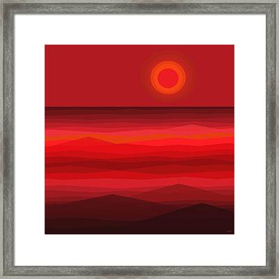 Red Sunset Framed Print by Val Arie