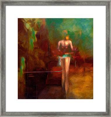 Red Swan Arising Framed Print by Georgiana Romanovna