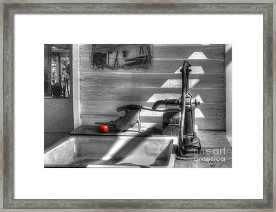 Red Tomato By Sink Framed Print by Dan Friend