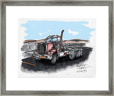 Red Tractor Framed Print by Geoffrey Walker