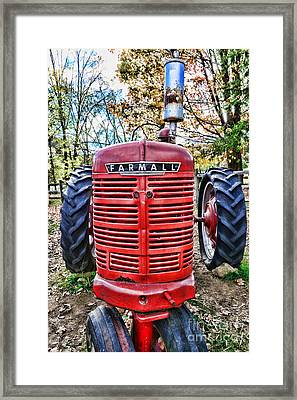 Red Tractor Framed Print by Paul Ward