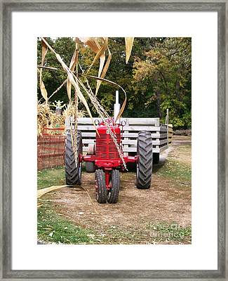 Red Tractor Ready To Roll Framed Print by Laurie Eve Loftin