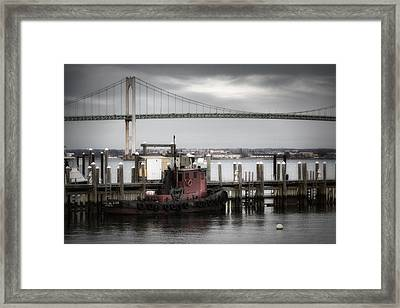Red Tugboat And Newport Bridge II Framed Print by Joan Carroll
