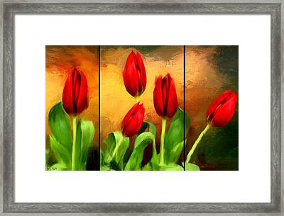 Red Tulips Triptych Framed Print by Lourry Legarde