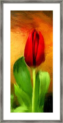 Red Tulips Triptych Section 1 Framed Print by Lourry Legarde