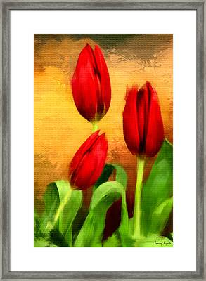 Red Tulips Triptych Section 2 Framed Print by Lourry Legarde