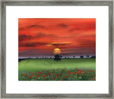 Red Tuscan Sunrise With Poppy Field Framed Print by Cecilia Brendel