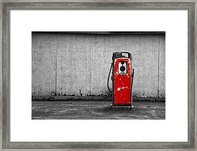 Red Vintage Gasoline Pump Framed Print by Randall Nyhof