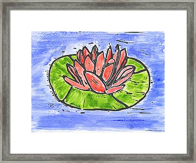 Red Waterlily Framed Print by Lynn-Marie Gildersleeve