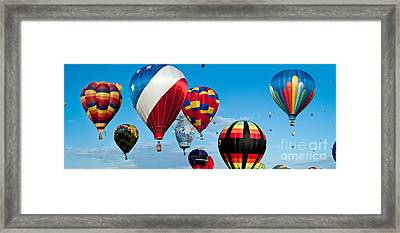 Red White And Balloons Panorama Framed Print by Jim Chamberlain