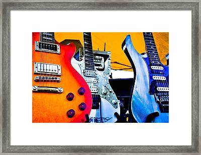 Red White And Blue Guitars Framed Print by David Patterson