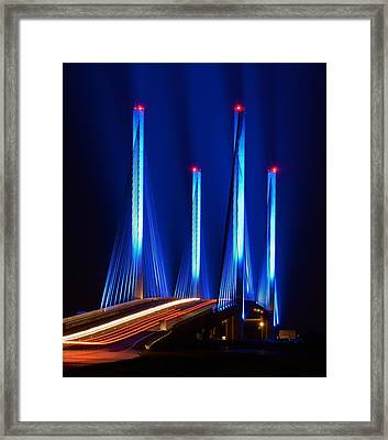 Red White And Blue Indian River Inlet Bridge Framed Print by William Bartholomew