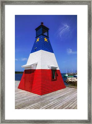 Red White And Blue Lighthouse Framed Print by Garry Gay