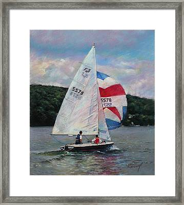 Red White And Blue Sailboat Framed Print by Viola El