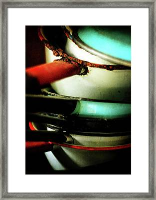 Red White Blue And Rust Framed Print by Rebecca Sherman