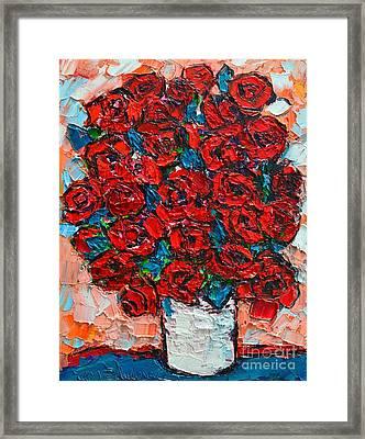Red Wild Roses Framed Print by Ana Maria Edulescu