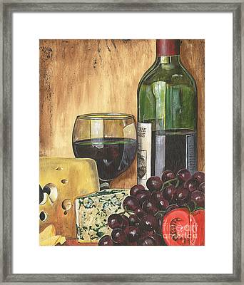 Red Wine And Cheese Framed Print by Debbie DeWitt