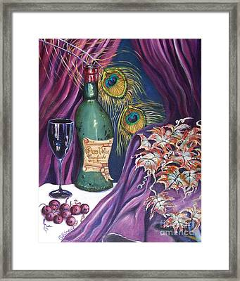 Red Wine And Peacock Feathers Framed Print by Caroline Street