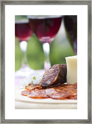 Red Wine And Sausage With Cheese Framed Print by Mythja  Photography
