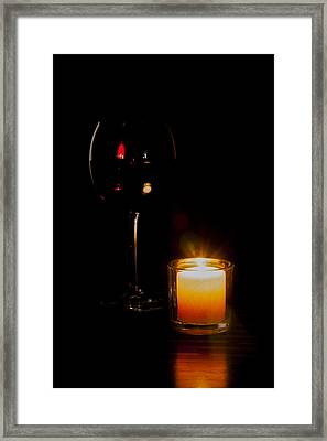 Red Wine By Candlelight Framed Print by Erin Cadigan