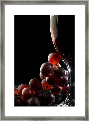 Red Wine With Grapes Framed Print by Johan Swanepoel