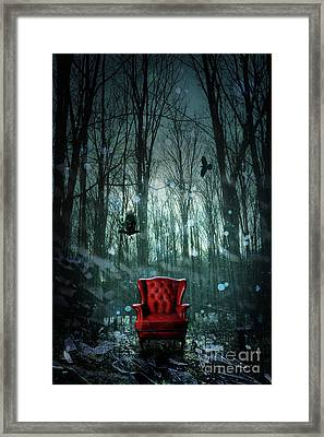 Red Wing Chair In Forest At Twilight Framed Print by Sandra Cunningham