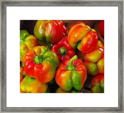 Red-yellow-green Peppers Framed Print by John Ayo