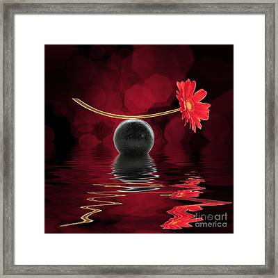 Red Zen Gerbera Framed Print by Delphimages Photo Creations