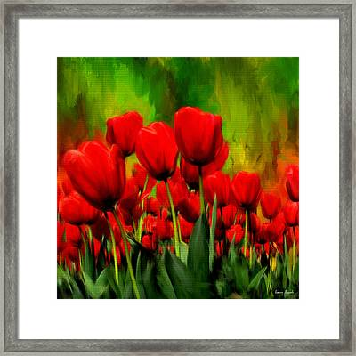 Reddened By Passion Framed Print by Lourry Legarde