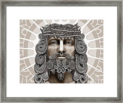 Redeemer - Modern Jesus Iconography - Copyrighted Framed Print by Christopher Beikmann