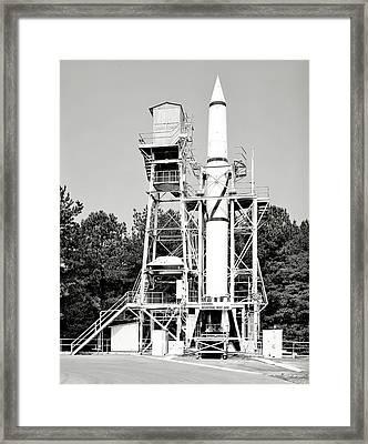Redstone Rocket Framed Print by Benjamin Yeager