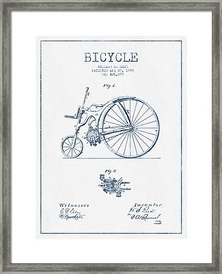 Reed Bicycle Patent Drawing From 1890 - Blue Ink Framed Print by Aged Pixel