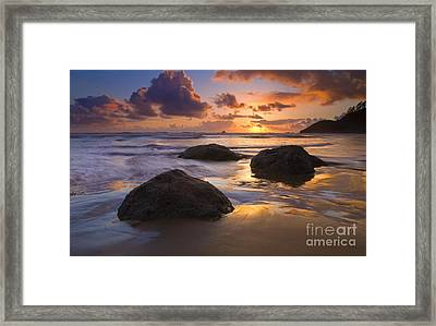 Reflected In The Sand Framed Print by Mike  Dawson