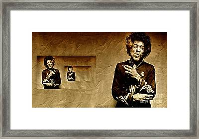 Reflecting On Jimi Hendrix  Framed Print by Andrea Kollo