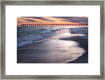 Reflecting On Navarre Beach Framed Print by JC Findley