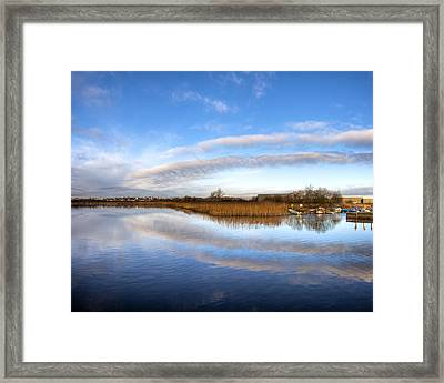 Reflecting Skies On The River Corrib In Galway Framed Print by Mark E Tisdale