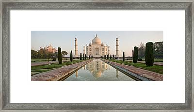 Reflection Of A Mausoleum In Water, Taj Framed Print by Panoramic Images