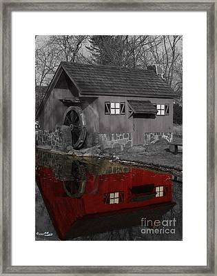 Reflection Of Red Mill Framed Print by Bill Woodstock