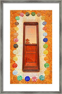 Reflection On Gaudi Framed Print by Nigel Fletcher-Jones